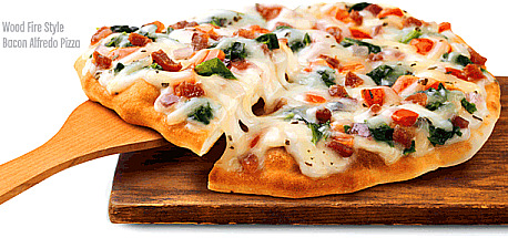 "Lean Cuisine ""bacon alfredo pizza"". Goes great with a Weight Watchers diet cheeseburger flavored milkshake."
