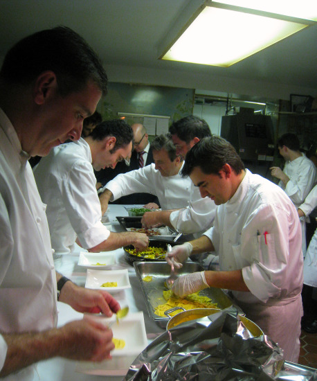 Boulud at the helm leading his troops.