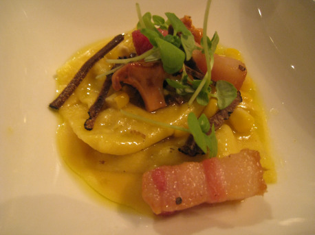Sweet corn agnolotti with rillons (what us plebeian call pork belly)