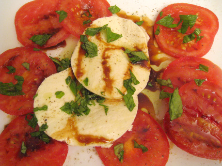 Easy appetizer with fresh, windowsill basil.